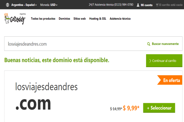 Dominio disponible en godaddy