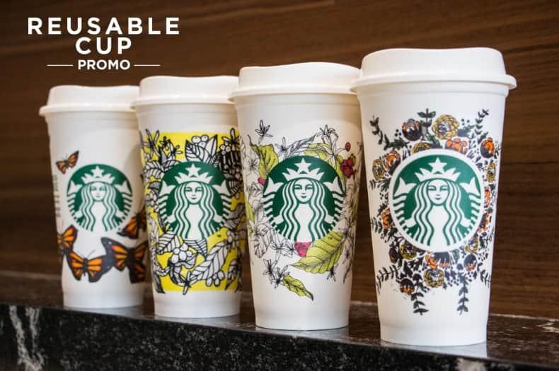 Vasos reutilizables de Starbucks para evitar los plásticos de un solo uso